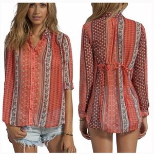 Free People Moonlight Miles Coral Floral Top Tunic